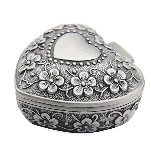 Tamkyo Classic Vintage Antique Heart Shape Jewelry Box Ring Small Trinket Storage Organizer Chest, Silver