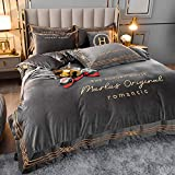 juegos de sábanas infantiles 105-Invierno ligero estilo de lujo terciopelo de cuatro piezas funda nórdica bordada sábana de cama de terciopelo de doble cara funda de edredón funda de almohada regalo-