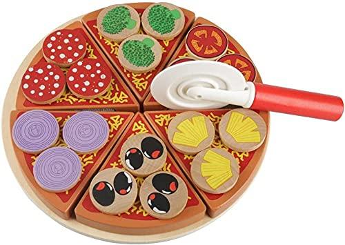 Pizza in legno giocattolo in legno verdura pizza alimento diy giocattoli fai da te set giocattoli giocattoli fingere giocano pizza set per bambini bambini apprendimento e amplificatore dono educa