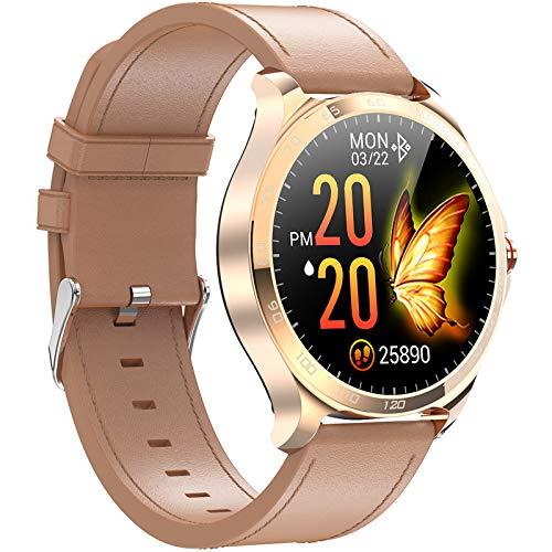 QFSLR Smartwatch, Reloj Inteligente Impermeable con Monitor De Frecuencia Cardíaca, Monitor De Presión Arterial Ciclo Menstrual Rastreador De Salud Hombres Y Mujeres para Android iOS,Marrón