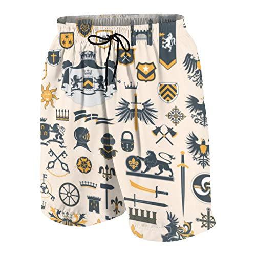 Bestpillow Bañadores para Hombre,Big Vector Collection - Elementos de diseño heráldico Swim Shorts Playa Shorts M