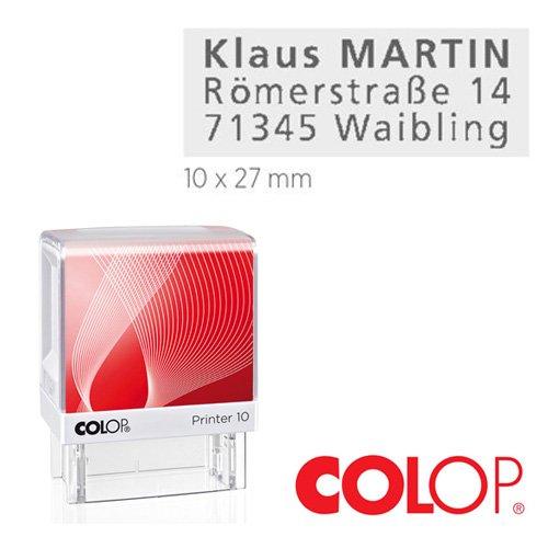 Colop (WEIß) Printer Stempel / 10-20 - 30-50 - 60 / Verschiedene GRÖßEN (10) mit individueller Textplatte/Logo