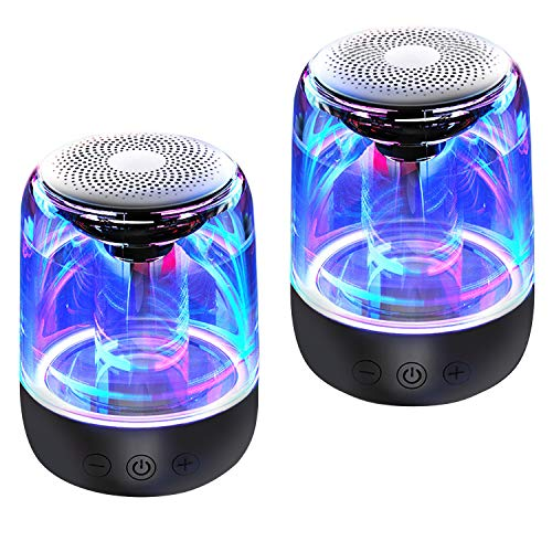 Bluetooth Portable Speaker, True Wireless Stereo Speakers, Crystal Clear Stereo Sound, Rich Bass, 100 Ft Wireless Range, Microphone, LED Light Show, TF Card, Aux in, Mini Small Pocket Size-2 Pack