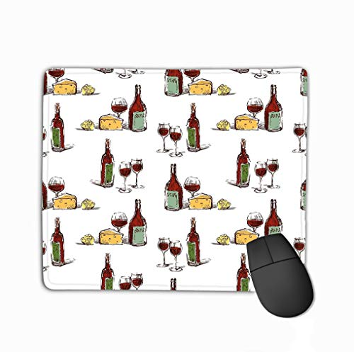 Gaming Mouse Pad Custom, Personality Desings Gaming Mouse Pad 11.81 X 9.84 Inch Seamless Background red Wine Cheese Lemon Pattern Wine Bottles Wine Glasses