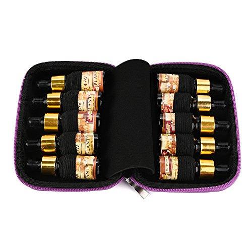 Essential Oil Storage Box, Frashing 10 Rollen Flaschen ätherisches Öl Kasten tragen Halter Speicher Aromatherapy Beutel Reise Kosmetiktasche (Lila)