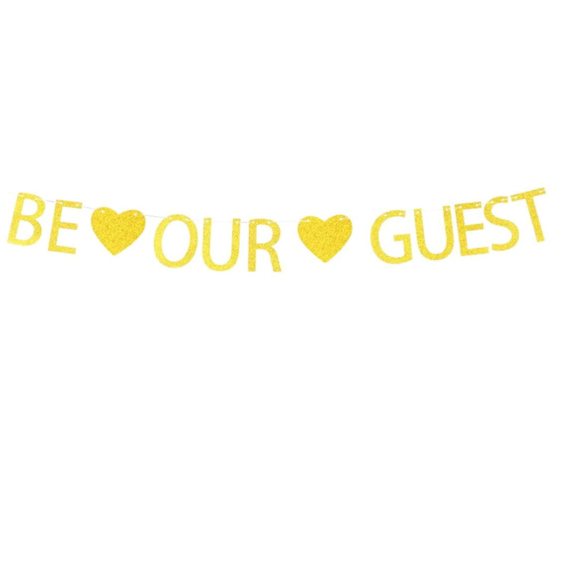 Be Our Guest Banner with Gold Glitter Heart Decorations Hanging Decor for Party Décor Gold Banner Pertlife