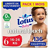 Lotus Baby Natural Touch - Culottes Taille 6 (16-26 kg) - lot de 4 packs de 34 culottes (x136 culottes)