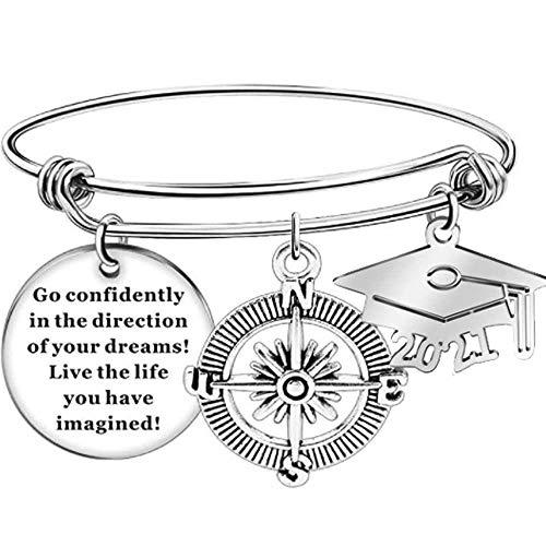 Stainless Steel 2021 Graduation Inspirational Mantra Compass Bangle Bracelet (Silver)