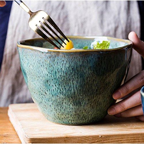 Bols à pâtes Céramique Mino-brûlant vaisselle bol de riz bol petit bol de couleur sous-glaçure bol de salade exquis vaisselle domestique Bols mélangeurs (Color : Green, Size : 10.3 * 15cm)