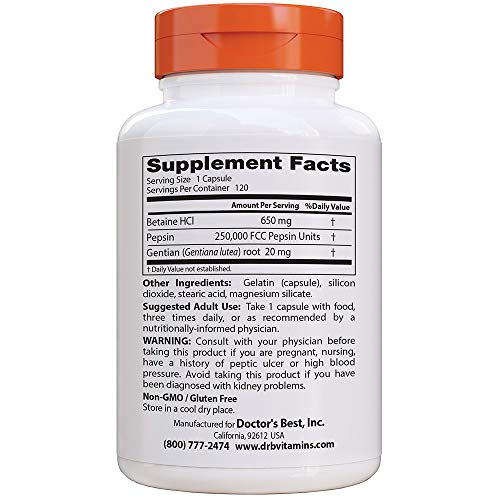 Doctor's Best Betaine HCI Pepsin & Gentian Bitters, Digestive Enzymes for Protein Breakdown & Absorption, Non-GMO, Gluten Free, 120 Caps, Original Version (DRB-00163)
