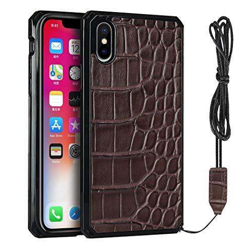 Funda para iPhone XS Max (6,5 pulgadas), diseño de cocodrilo, color marrón
