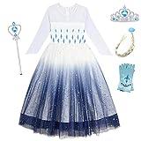O.AMBW Disfraz de Frozen para niñas de 2-10 años Cosplay Reina Elsa Disfraz con Accesorios Tiara Peluca Guantes Varita Vestido Princesa Regalo de cumpleaños Fiesta de Halloween Carnaval