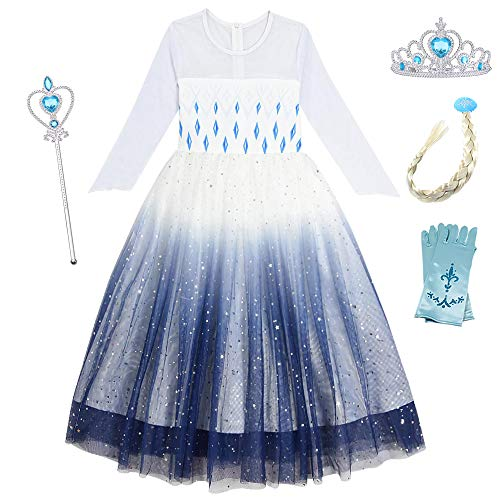 O.AMBW Disfraz de Frozen para nias de 2-10 aos Cosplay Reina Elsa Disfraz con Accesorios Tiara Peluca Guantes Varita Vestido Princesa Regalo de cumpleaos Fiesta de Halloween Carnaval