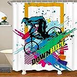 Loussiesd Cortina de ducha para bicicleta de montaña, para bañeras, deportes extremos, cortina de baño, estilo fresco, 180 x 210 cm