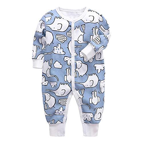Body Pagliaccetto Neonati Pigiama Manica Lunga Pigiama per Bambina Vestiti di Cotone Tutine Bambino Elefante Blu 6-9 Mesi