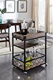 eHomeProducts Reclaimed Oak Black Metal Industrial Style 3-Tier Serving Wine Tea Dining Kitchen Cart with Bottle Holder