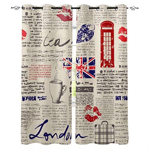 Cortinas opacas con ojales plateados, estilo británico con aislamiento térmico, cortinas para ventana de dormitorio o puerta de cristal corrediza rojo Texto. Talla:52x52inx2