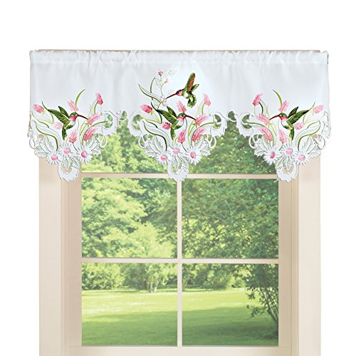 Collections Etc Daisy Floral Embroidered Dainty Hummingbird White Valance Curtain