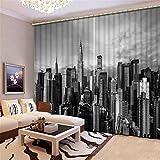 wqmdeshop Tratamiento De Ventanas Super Soft Blackout Beautiful New York Building 3D Cortinas De Ojales con Aislamiento Térmico De Seda Negra 265(H) x200(An) Cmx2