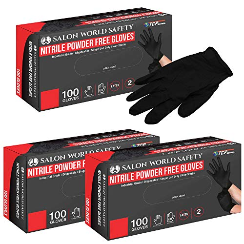 Salon World Safety Black Nitrile Disposable Gloves, 3 Boxes of 100, Size Small, 4.0 Mil - Latex Free, Textured, Food Safe