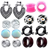 8 Pairs Stainless Steel Woman Dangle Gauges 00 Ear Tunnels Earrings Plugs Silicone Opal Stone Turquoise Wooden Gauges (10mm=00g)