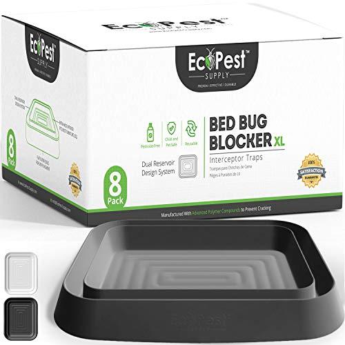 Bettwanzen Detektor - 8er Pack | Bettwanzenfalle Bed Bug Blocker (XL) | Bettwanzen Test (schwarz) | Extra große Insektenfalle, Wanzen Monitor und Detektor für Bettwanzen