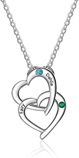Personalized Name Engraved Heart Necklace Couple Pendant with 2 Simulated Birthstones Promise Necklace for Girlfriend Mother