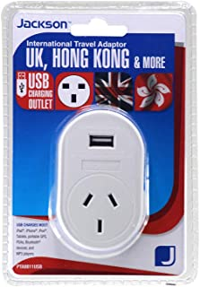 Jackson Outbound Travel Adaptor w/USB - UK+HK, (PTA8811USB)