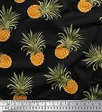 Soimoi Schwarz Baumwolle Ente Stoff Ananas Obst Stoff