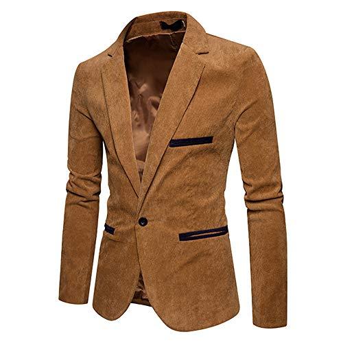 Herren Blazer Cord Sakko Casual Langarm Jacke Slim Fit Single Knopf Vintage Anzüge Cordanzug Mantel