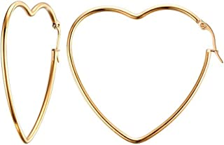 Sideway Big Heart Shaped Gold Rhodium Plated Hoop Statement Earrings for Womens, Anti-Allergy