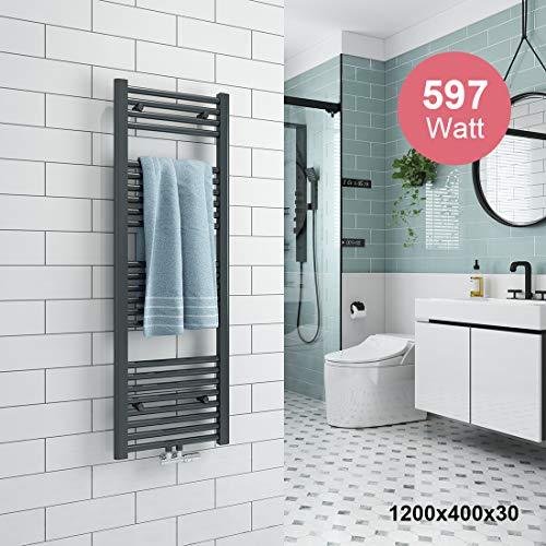 Badheizkörper 1200x400mm Mittelanschluss 458 Watt Anthrazit, Handtuchtrockner Handtuchwärmer Design Heizkörper für Bad Heizung Radiator