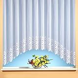 C-Bogen-Store Jacquard mit Kräuselband, halbtransparent, Farbe weiß Größe HxB 145x450 cm