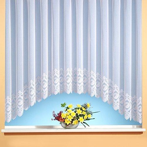 Weckbrodt C-Bogen-Store Jacquard mit Kräuselband, halbtransparent, Farbe weiß Größe HxB 145x300 cm