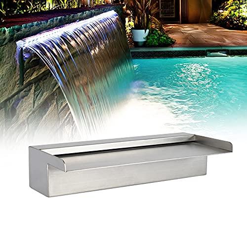Pondo LED-Poolbrunnen mit 7 wechselnden Farben, Wasserfall aus Edelstahl, für den Garten des Abfahrens, pur außen (60 cm)