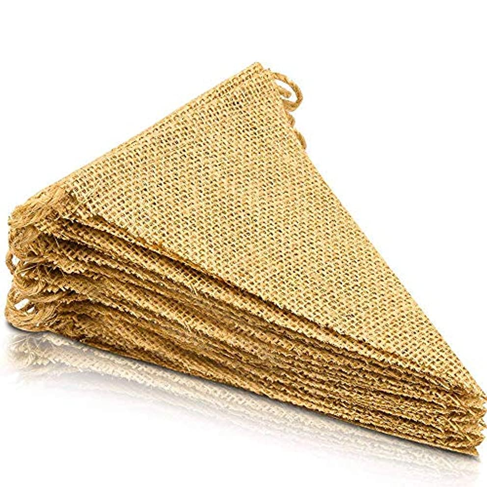 V'Decor 15Pcs Burlap Banner, DIY Decoration for Wedding, Baby Shower and Party, 16 Feet