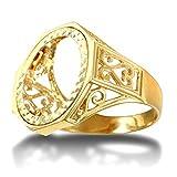 Anello da uomo in oro massiccio 9 carati, a forma di mezza sovrana, misura V