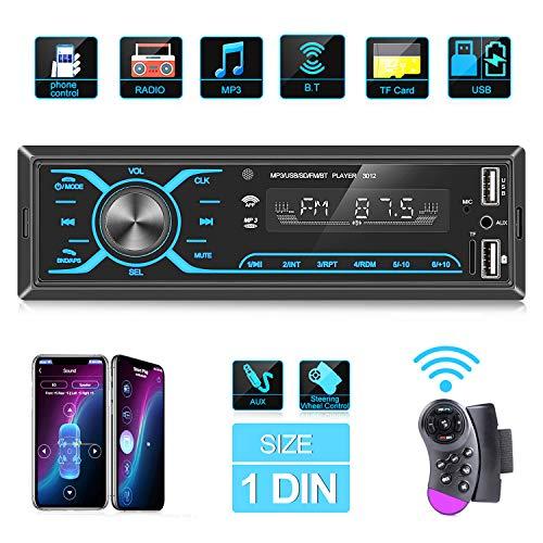 ANKEWAY 2021 Nuevo Táctil Radio Coche Autoradio Bluetooth 1 DIN con App Control y Remoto del Volante, Llamadas Manos Libres Radio FM 75W x 4 Reproductor MP3 Soporte BT/USB/TF/AUX/USB Carga Rápida
