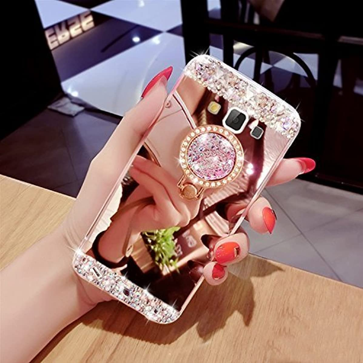 Galaxy J3 Case, Samsung Galaxy Amp Prime Case/Express Prime Case,XIHUA Luxury Crystal Rhinestone Soft Rubber Bumper Bling Diamond Glitter Mirror Makeup Case for Samsung Galaxy J3 - Rose Gold