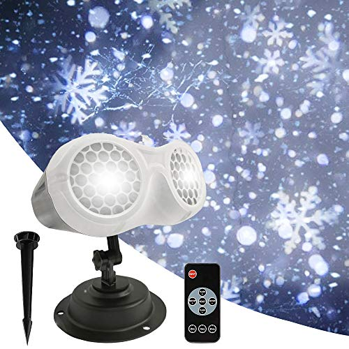 Snowflake Light Projector Outdoor Christmas Snowfall Twin Tubes Projection LED Light with Remote Control, PULIVIA Upgrade Moving Snowflake Projector Light Xmas Indoor Projection Light for Holidays