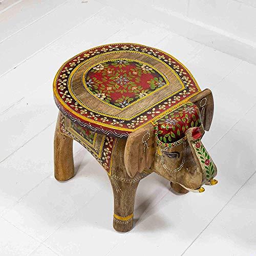 Mesa de Elefante Grande Pintada a Mano de Madera Natural Animal Fair Trade