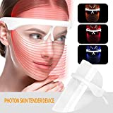 3 Colours LED Face Mask Photon Therapy Face Mask Spectral Skin Rejuvenation Mask Anti-Wrinkle Whitening Acne Cleaning Mask LED Beauty Treatment LED Beauty Face Mask (Clear)