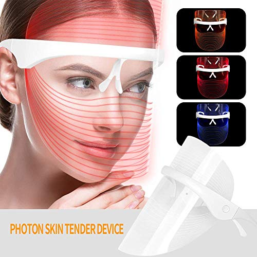 3 Colors LED Facial Mask Photon Therapy Facial Mask Spectral Skin Rejuvenation Mask Anti- Wrinkles Whitening Acne Cleansing Mask LED Mask Beauty Treatment LED Beauty Face Mask