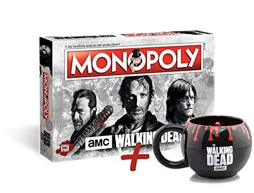 Unbekannt Monopoly The Walking Dead AMC Brettspiel Gesellschaftsspiel + Tasse (+ Zombiehand 3D Form-Tasse)