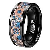 BestTungsten 8mm Black Tungsten Rings for Men Women Wedding Bands Steampunk Gear Wheel Blue Carbon Fiber Inlay Beveled Edges Comfort Fit