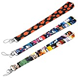 CY2SIDE 3pcs Naruto Badge Lanyards for Kids, Phone String Holder for Adults, Cartoon Naruto Keychain Badge Holder, Lanyard Holders for ID Badge, Name Tag, Phone String Strap with Hook, Naruto Keychain