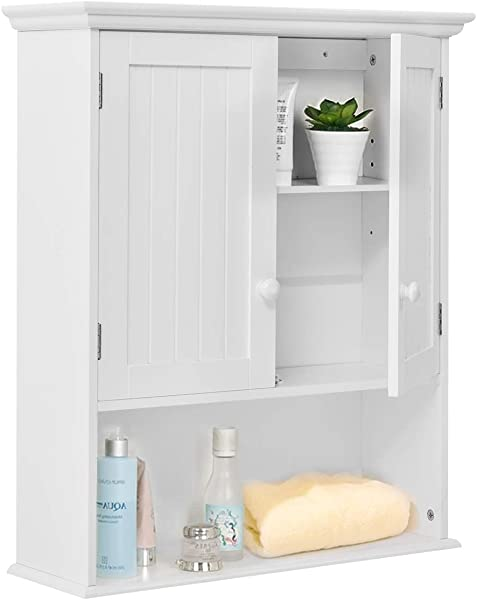 TANGKULA Wall Mount Bathroom Cabinet Wooden Medicine Cabinet Storage Organizer With 2 Doors And 1 Shelf Cottage Collection Wall Cabinet White