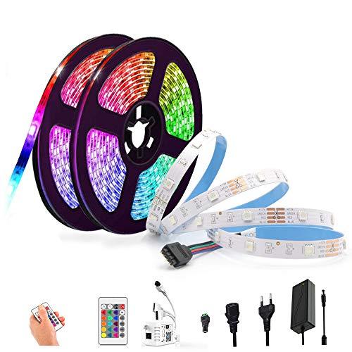 Arote Tira LED RGB WiFi 10M 5050 SMD,con controlador de infrarrojos,alimentación,16 millones de colores,compatible con Alexa,Google Home,sincronización con música,para decoración fiesta de Navidad