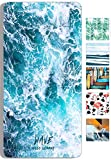 snailman Microfiber Beach Towel,Quick Dry Lightweight (60X31) Swim Towels, Wave Printed Travel Bath Towel,Shower Beach Blanket Sand Free Towel (Large(60X31)