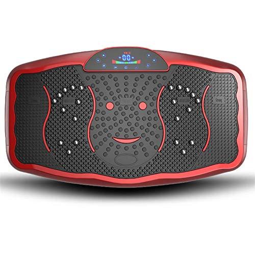 Vibrationsplatte Slim und rutschfest Rüttelplatte Trainingsmaschine, Fitness Plattform Home Training, mit USB-Lautsprecher & Magnetism Therapiefunktion und LCD-Display (Color : Rosso)